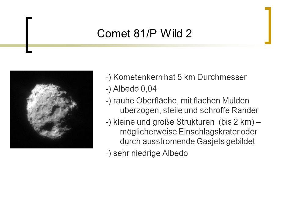 Comet 81/P Wild 2 -) Kometenkern hat 5 km Durchmesser -) Albedo 0,04 -) rauhe Oberfläche, mit flachen Mulden überzogen, steile und schroffe Ränder -) kleine und große Strukturen (bis 2 km) – möglicherweise Einschlagskrater oder durch ausströmende Gasjets gebildet -) sehr niedrige Albedo