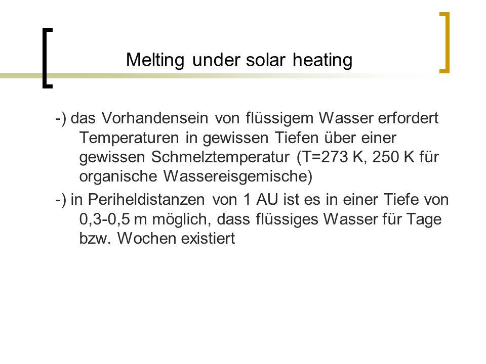 Melting under solar heating -) das Vorhandensein von flüssigem Wasser erfordert Temperaturen in gewissen Tiefen über einer gewissen Schmelztemperatur (T=273 K, 250 K für organische Wassereisgemische) -) in Periheldistanzen von 1 AU ist es in einer Tiefe von 0,3-0,5 m möglich, dass flüssiges Wasser für Tage bzw.