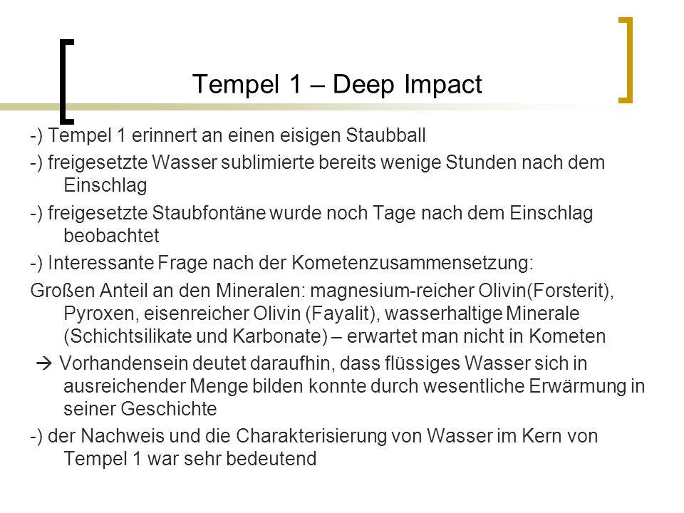 Tempel 1 – Deep Impact -) Tempel 1 erinnert an einen eisigen Staubball -) freigesetzte Wasser sublimierte bereits wenige Stunden nach dem Einschlag -) freigesetzte Staubfontäne wurde noch Tage nach dem Einschlag beobachtet -) Interessante Frage nach der Kometenzusammensetzung: Großen Anteil an den Mineralen: magnesium-reicher Olivin(Forsterit), Pyroxen, eisenreicher Olivin (Fayalit), wasserhaltige Minerale (Schichtsilikate und Karbonate) – erwartet man nicht in Kometen  Vorhandensein deutet daraufhin, dass flüssiges Wasser sich in ausreichender Menge bilden konnte durch wesentliche Erwärmung in seiner Geschichte -) der Nachweis und die Charakterisierung von Wasser im Kern von Tempel 1 war sehr bedeutend