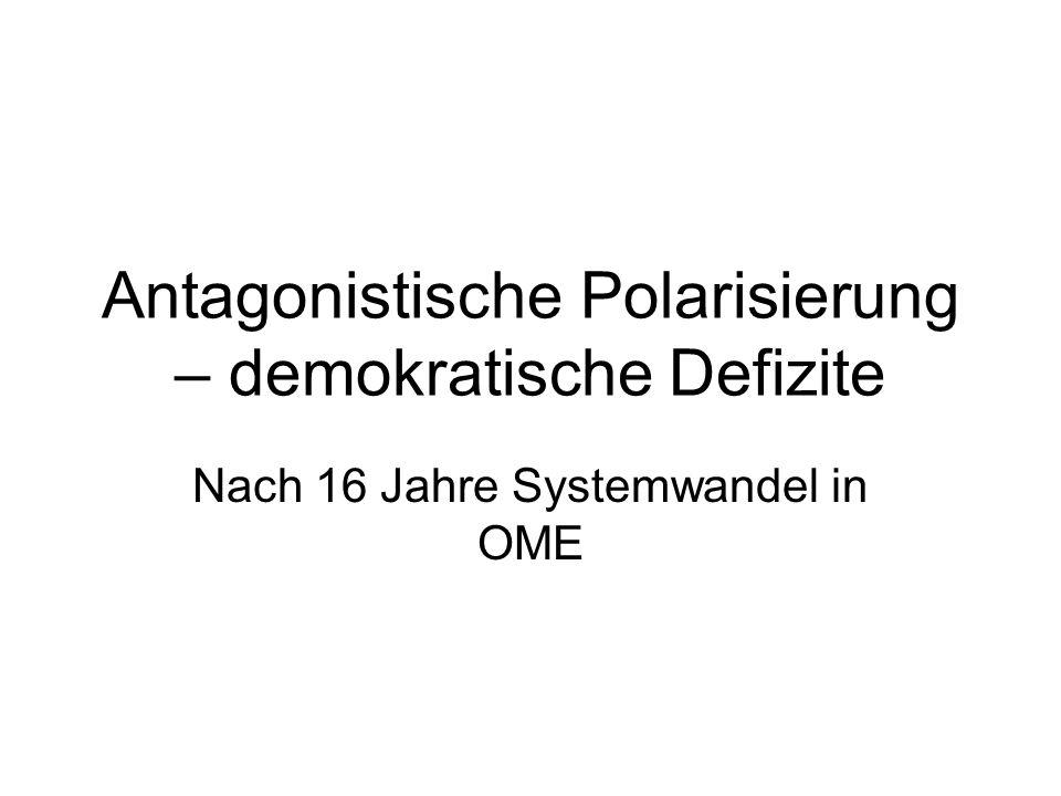 Demokratische Defizite in Ungarn Verschärfter Kampf der Eliten oben – wehrlose Gesellschaft unten Politische Polarisierung – tief in die Gesellschaft.