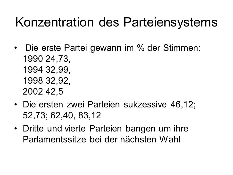 Konzentration des Parteiensystems Die erste Partei gewann im % der Stimmen: 1990 24,73, 1994 32,99, 1998 32,92, 2002 42,5 Die ersten zwei Parteien sukzessive 46,12; 52,73; 62,40, 83,12 Dritte und vierte Parteien bangen um ihre Parlamentssitze bei der nächsten Wahl
