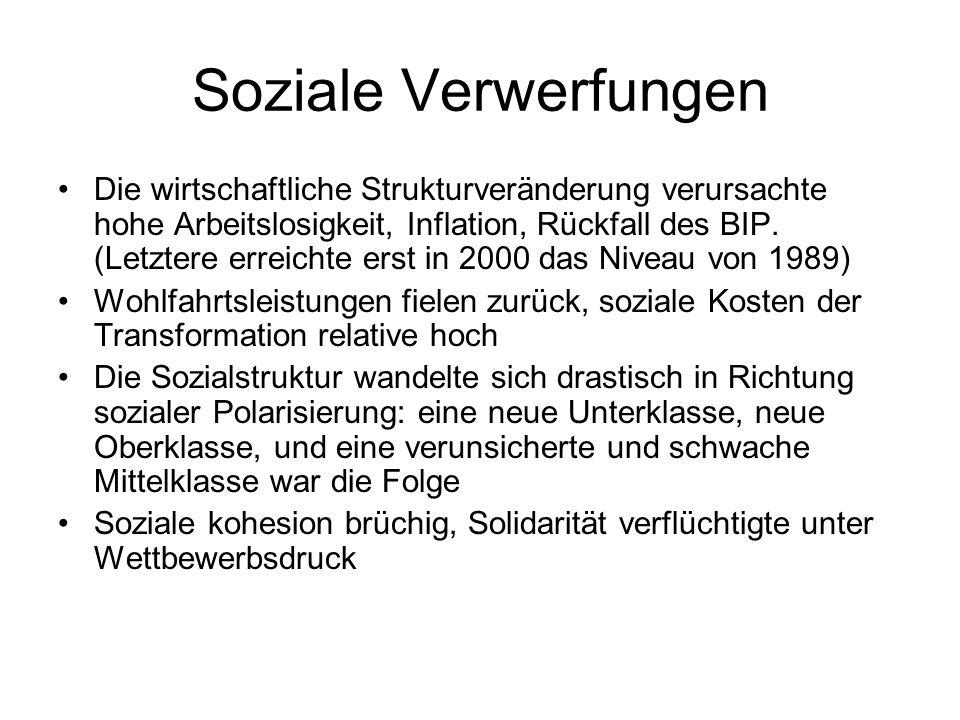 Soziale Verwerfungen Die wirtschaftliche Strukturveränderung verursachte hohe Arbeitslosigkeit, Inflation, Rückfall des BIP. (Letztere erreichte erst