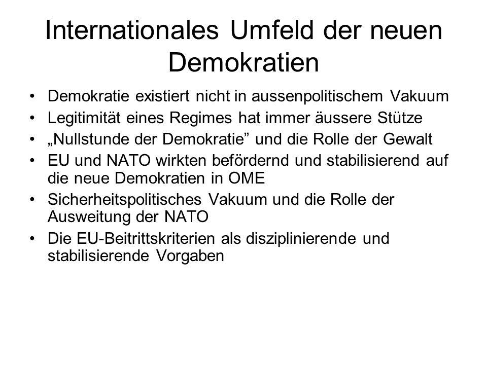 """Internationales Umfeld der neuen Demokratien Demokratie existiert nicht in aussenpolitischem Vakuum Legitimität eines Regimes hat immer äussere Stütze """"Nullstunde der Demokratie und die Rolle der Gewalt EU und NATO wirkten befördernd und stabilisierend auf die neue Demokratien in OME Sicherheitspolitisches Vakuum und die Rolle der Ausweitung der NATO Die EU-Beitrittskriterien als disziplinierende und stabilisierende Vorgaben"""