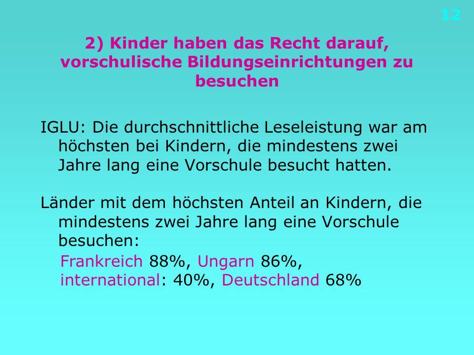 12 2) Kinder haben das Recht darauf, vorschulische Bildungseinrichtungen zu besuchen IGLU: Die durchschnittliche Leseleistung war am höchsten bei Kind