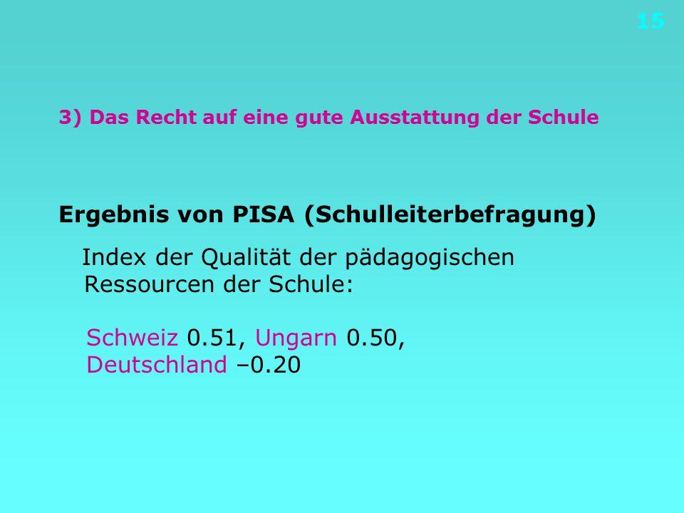 15 3) Das Recht auf eine gute Ausstattung der Schule Ergebnis von PISA (Schulleiterbefragung) Index der Qualität der pädagogischen Ressourcen der Schu