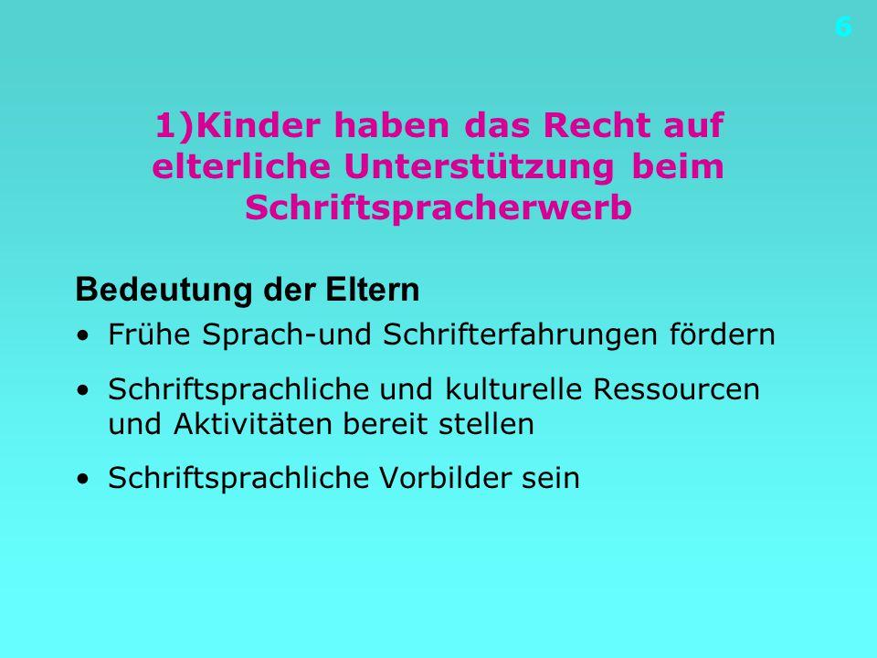 6 1)Kinder haben das Recht auf elterliche Unterstützung beim Schriftspracherwerb Bedeutung der Eltern Frühe Sprach-und Schrifterfahrungen fördern Schriftsprachliche und kulturelle Ressourcen und Aktivitäten bereit stellen Schriftsprachliche Vorbilder sein