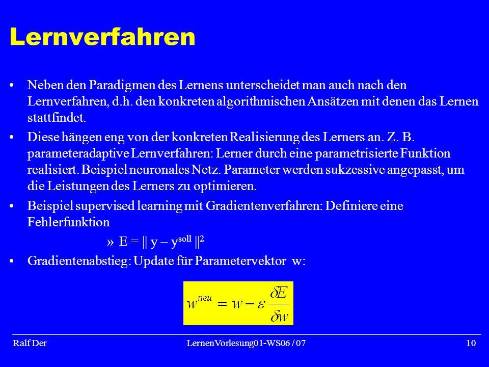 Ralf DerLernenVorlesung01-WS06 / 0710 Lernverfahren Neben den Paradigmen des Lernens unterscheidet man auch nach den Lernverfahren, d.h.