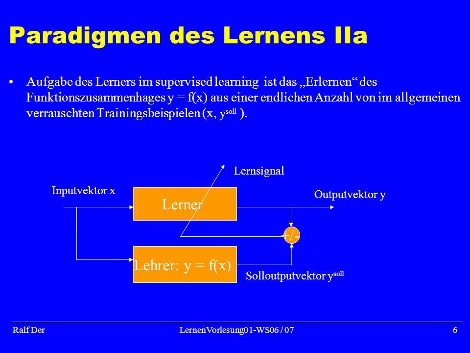 """Ralf DerLernenVorlesung01-WS06 / 076 Paradigmen des Lernens IIa Aufgabe des Lerners im supervised learning ist das """"Erlernen des Funktionszusammenhages y = f(x) aus einer endlichen Anzahl von im allgemeinen verrauschten Trainingsbeispielen (x, y soll )."""