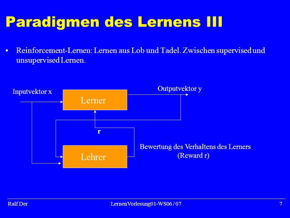 Ralf DerLernenVorlesung01-WS06 / 077 Paradigmen des Lernens III Reinforcement-Lernen: Lernen aus Lob und Tadel.