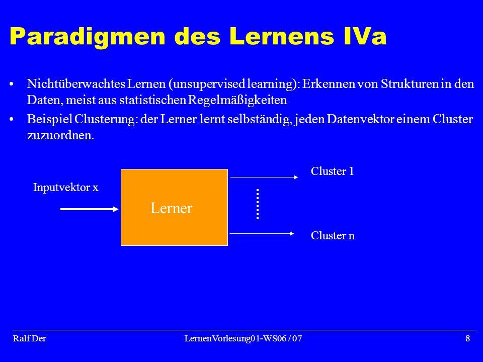 Ralf DerLernenVorlesung01-WS06 / 078 Paradigmen des Lernens IVa Nichtüberwachtes Lernen (unsupervised learning): Erkennen von Strukturen in den Daten, meist aus statistischen Regelmäßigkeiten Beispiel Clusterung: der Lerner lernt selbständig, jeden Datenvektor einem Cluster zuzuordnen.