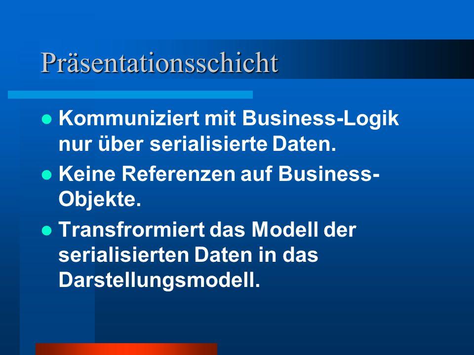 Präsentationsschicht Kommuniziert mit Business-Logik nur über serialisierte Daten.
