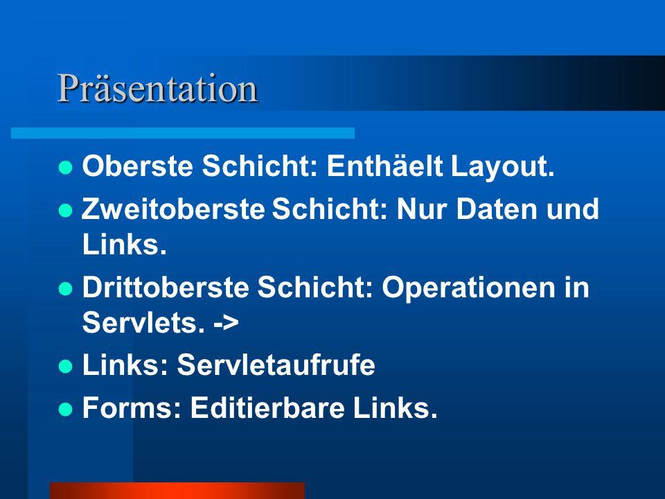 Präsentation Oberste Schicht: Enthäelt Layout.Zweitoberste Schicht: Nur Daten und Links.