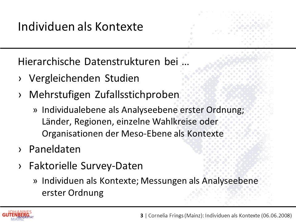 3 | Cornelia Frings (Mainz): Individuen als Kontexte (06.06.2008) Hierarchische Datenstrukturen bei … ›Vergleichenden Studien ›Mehrstufigen Zufallssti