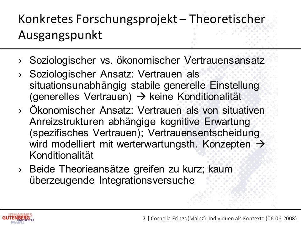 7 | Cornelia Frings (Mainz): Individuen als Kontexte (06.06.2008) Konkretes Forschungsprojekt – Theoretischer Ausgangspunkt › Soziologischer vs.