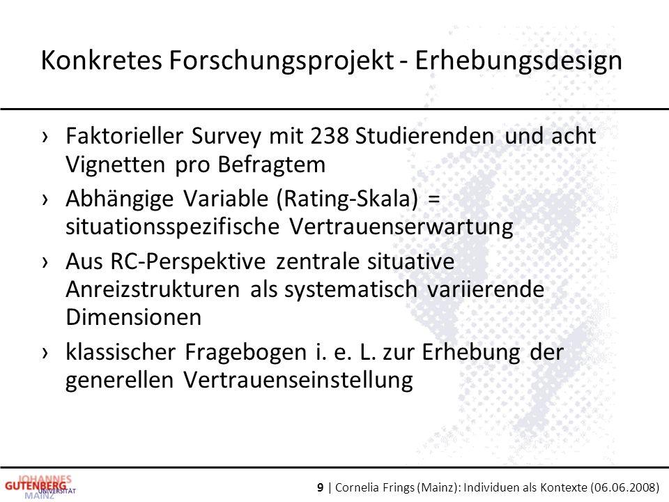 9 | Cornelia Frings (Mainz): Individuen als Kontexte (06.06.2008) Konkretes Forschungsprojekt - Erhebungsdesign ›Faktorieller Survey mit 238 Studierenden und acht Vignetten pro Befragtem ›Abhängige Variable (Rating-Skala) = situationsspezifische Vertrauenserwartung ›Aus RC-Perspektive zentrale situative Anreizstrukturen als systematisch variierende Dimensionen ›klassischer Fragebogen i.