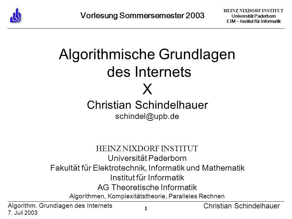 HEINZ NIXDORF INSTITUT Universität Paderborn EIM ‒ Institut für Informatik 1 Algorithm.
