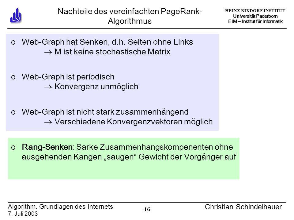 HEINZ NIXDORF INSTITUT Universität Paderborn EIM ‒ Institut für Informatik 16 Algorithm.
