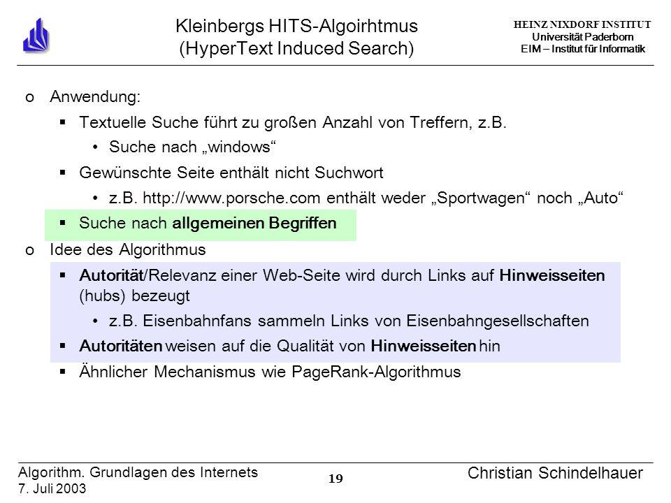 HEINZ NIXDORF INSTITUT Universität Paderborn EIM ‒ Institut für Informatik 19 Algorithm.