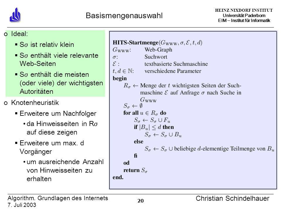 HEINZ NIXDORF INSTITUT Universität Paderborn EIM ‒ Institut für Informatik 20 Algorithm.