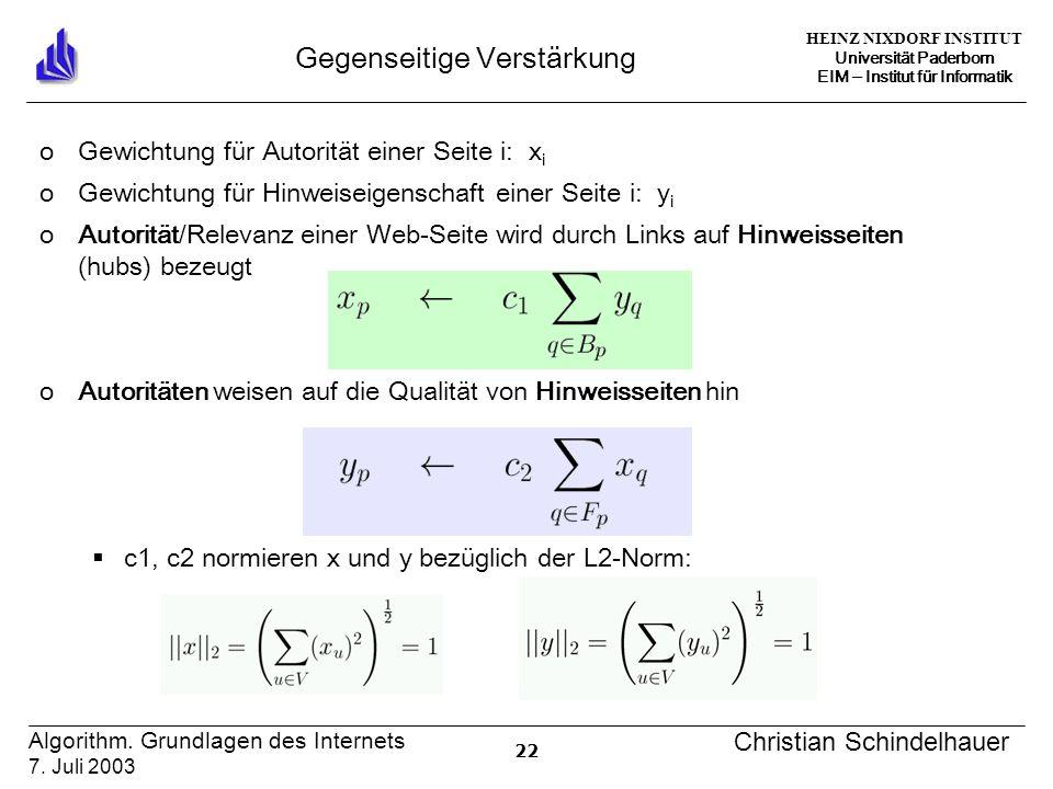 HEINZ NIXDORF INSTITUT Universität Paderborn EIM ‒ Institut für Informatik 22 Algorithm.