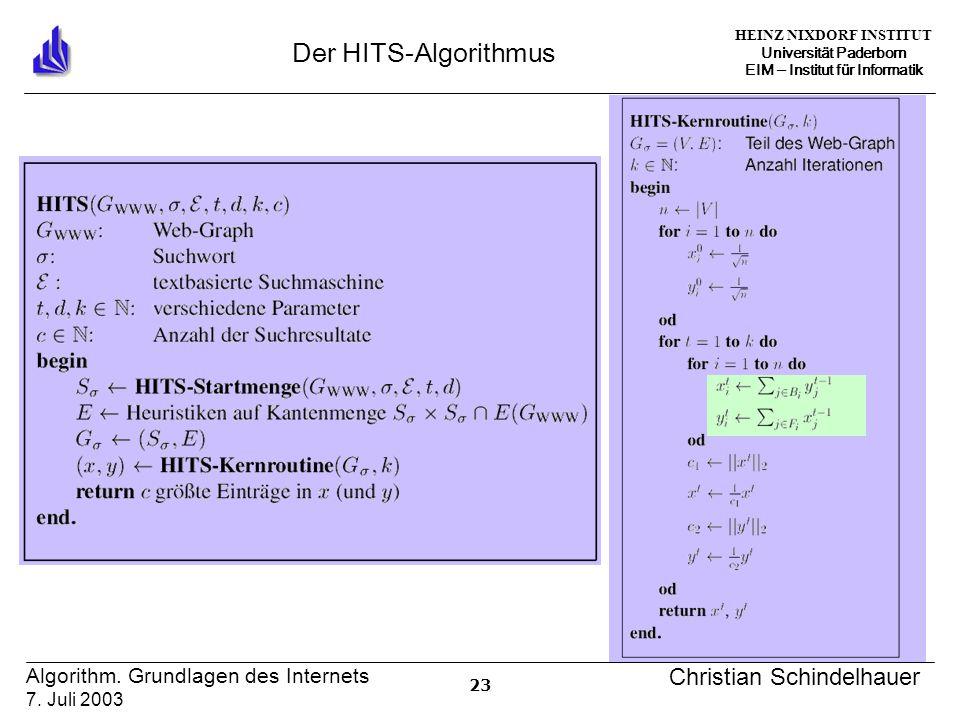 HEINZ NIXDORF INSTITUT Universität Paderborn EIM ‒ Institut für Informatik 23 Algorithm.