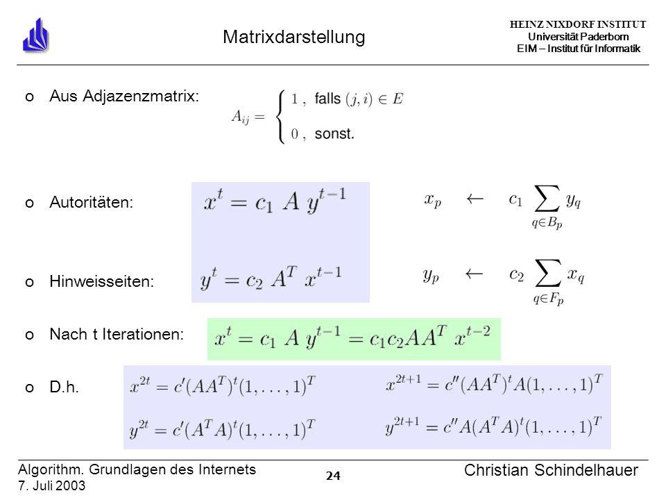 HEINZ NIXDORF INSTITUT Universität Paderborn EIM ‒ Institut für Informatik 24 Algorithm.