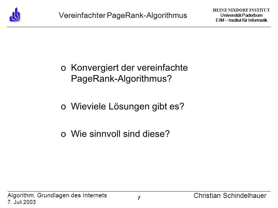 HEINZ NIXDORF INSTITUT Universität Paderborn EIM ‒ Institut für Informatik 7 Algorithm.