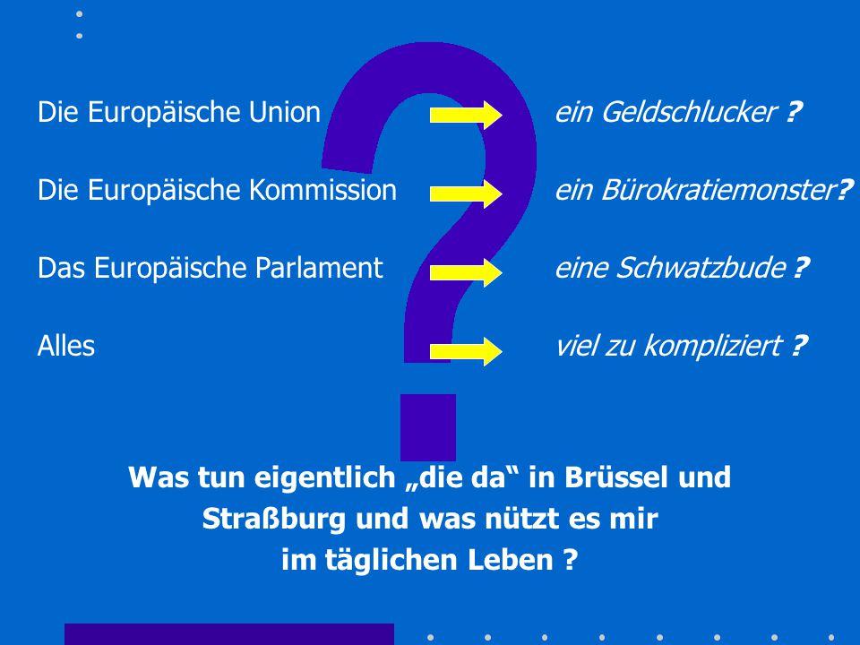 """Was tun eigentlich """"die da"""" in Brüssel und Straßburg und was nützt es mir im täglichen Leben ? Die Europäische Unionein Geldschlucker ? Die Europäisch"""