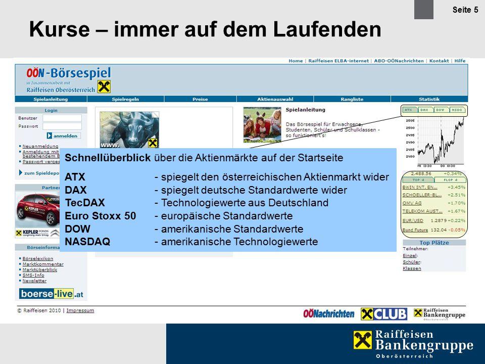 Seite 5 Kurse – immer auf dem Laufenden Schnellüberblick über die Aktienmärkte auf der Startseite ATX- spiegelt den österreichischen Aktienmarkt wider DAX- spiegelt deutsche Standardwerte wider TecDAX- Technologiewerte aus Deutschland Euro Stoxx 50- europäische Standardwerte DOW- amerikanische Standardwerte NASDAQ- amerikanische Technologiewerte