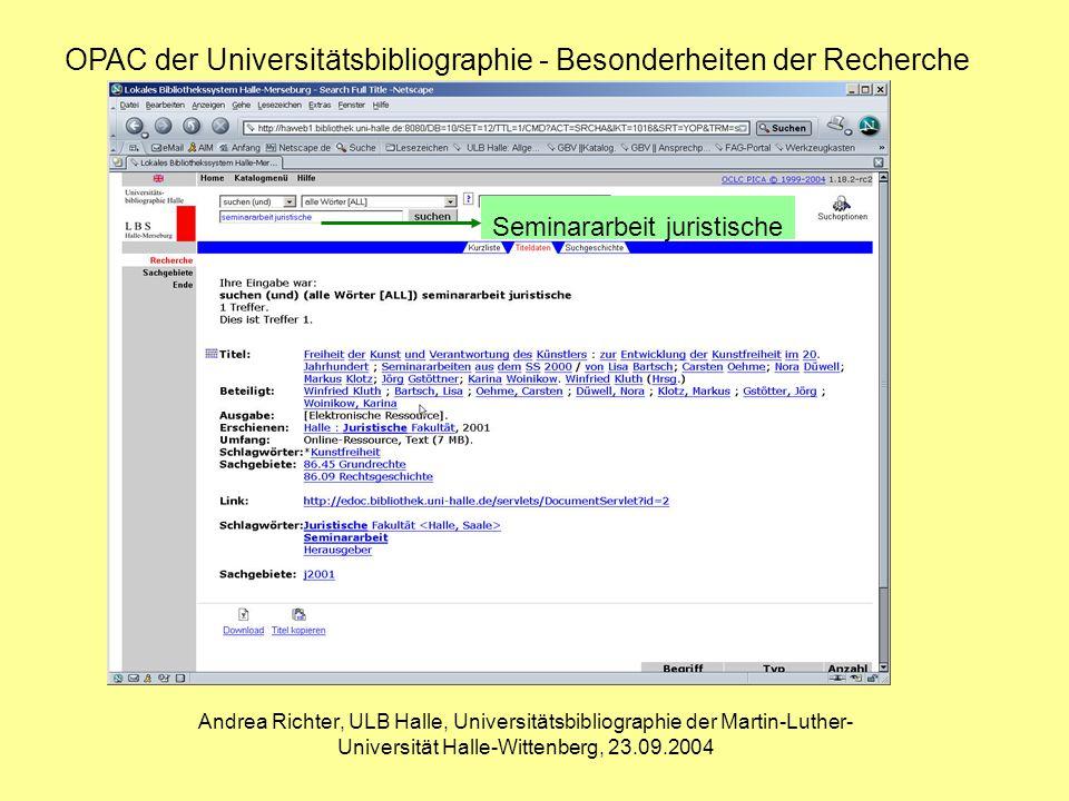 Andrea Richter, ULB Halle, Universitätsbibliographie der Martin-Luther- Universität Halle-Wittenberg, 23.09.2004 OPAC der Universitätsbibliographie - Besonderheiten der Recherche Seminararbeit juristische