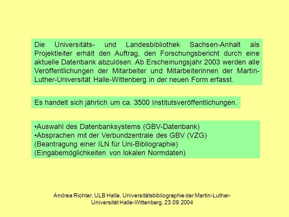 Andrea Richter, ULB Halle, Universitätsbibliographie der Martin-Luther- Universität Halle-Wittenberg, 23.09.2004 Aufruf des Dokuments