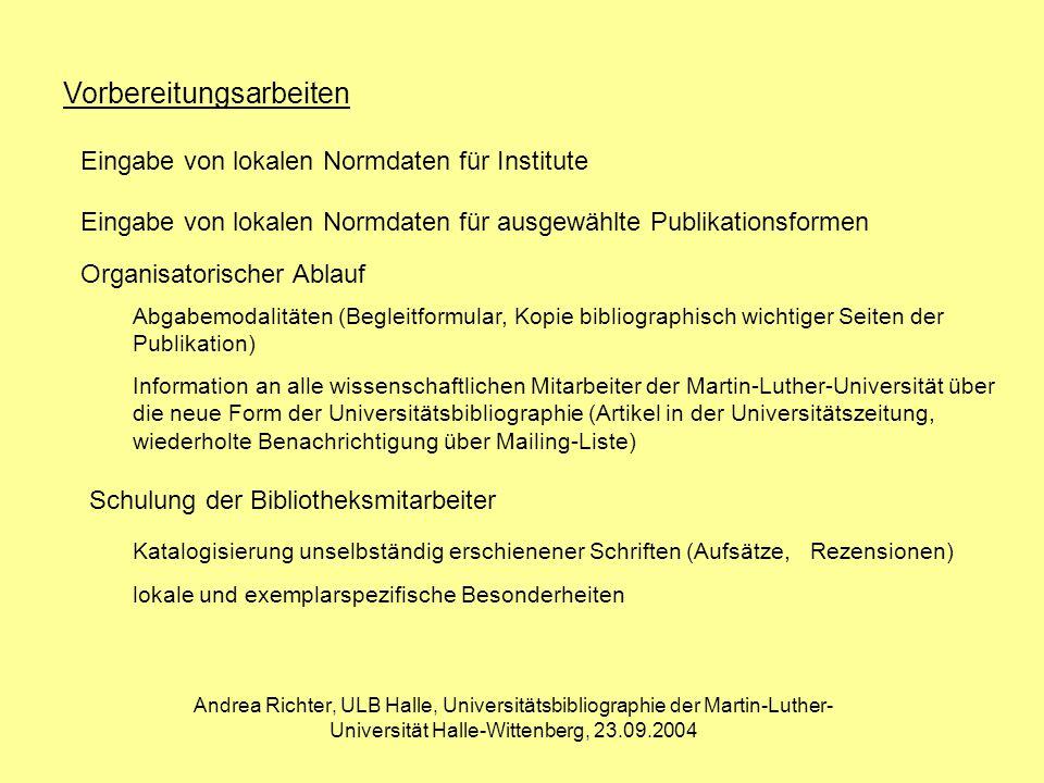 Andrea Richter, ULB Halle, Universitätsbibliographie der Martin-Luther- Universität Halle-Wittenberg, 23.09.2004 Schlußbetrachtung Anfänglich schleppender Anlauf der Universitätsbibliographie Die Akzeptanz der Institute und Fachbereiche ist gewachsen durch die einheitliche Erfassung der bibliographischen Daten durch eine schnelle Verfügbarkeit durch neue Möglichkeiten einer elektronischen Bibliothek durch eine bessere Funktionalität