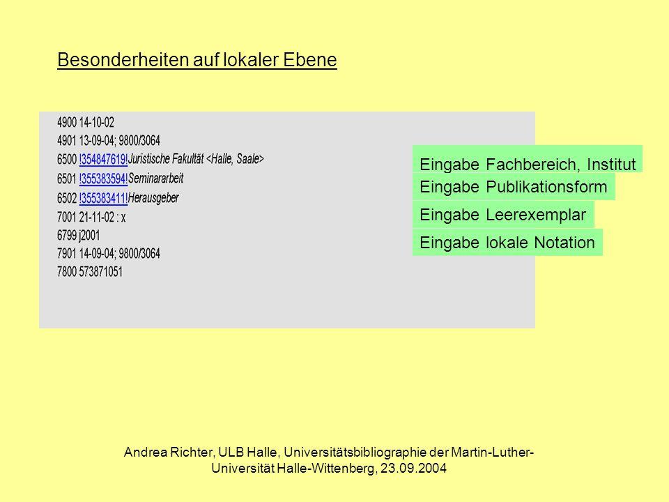 Andrea Richter, ULB Halle, Universitätsbibliographie der Martin-Luther- Universität Halle-Wittenberg, 23.09.2004 OPAC der Universitätsbibliographie