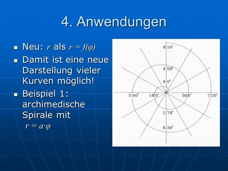 4. Anwendungen Neu: r als r = f(φ) Neu: r als r = f(φ) Damit ist eine neue Darstellung vieler Kurven möglich! Damit ist eine neue Darstellung vieler K