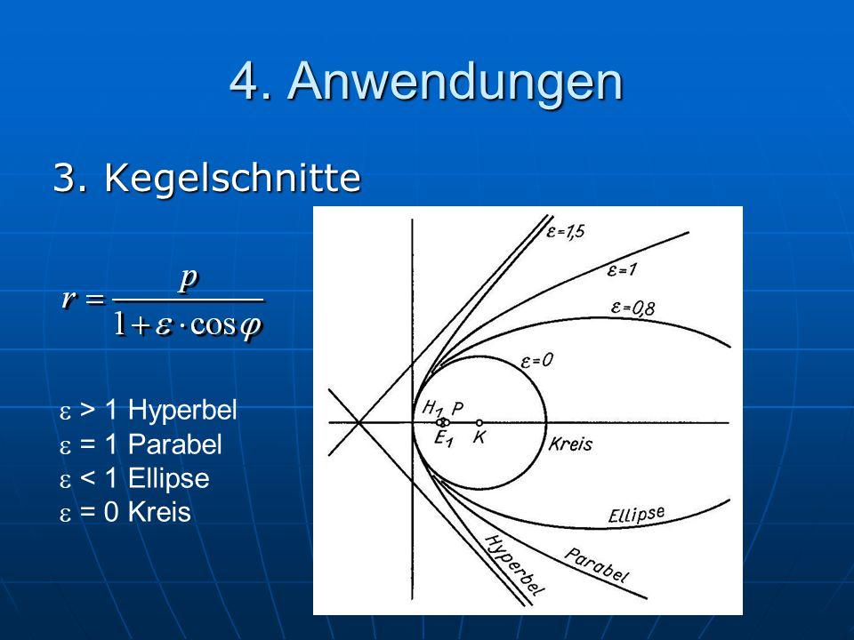 3. Kegelschnitte  > 1 Hyperbel  = 1 Parabel  < 1 Ellipse  = 0 Kreis