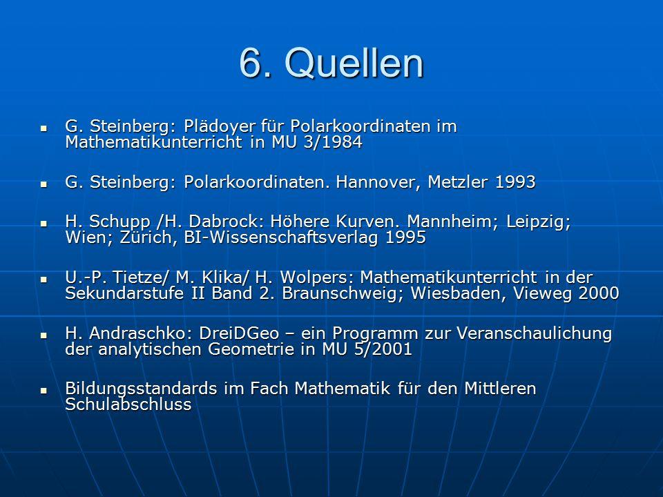6. Quellen G. Steinberg: Plädoyer für Polarkoordinaten im Mathematikunterricht in MU 3/1984 G. Steinberg: Plädoyer für Polarkoordinaten im Mathematiku