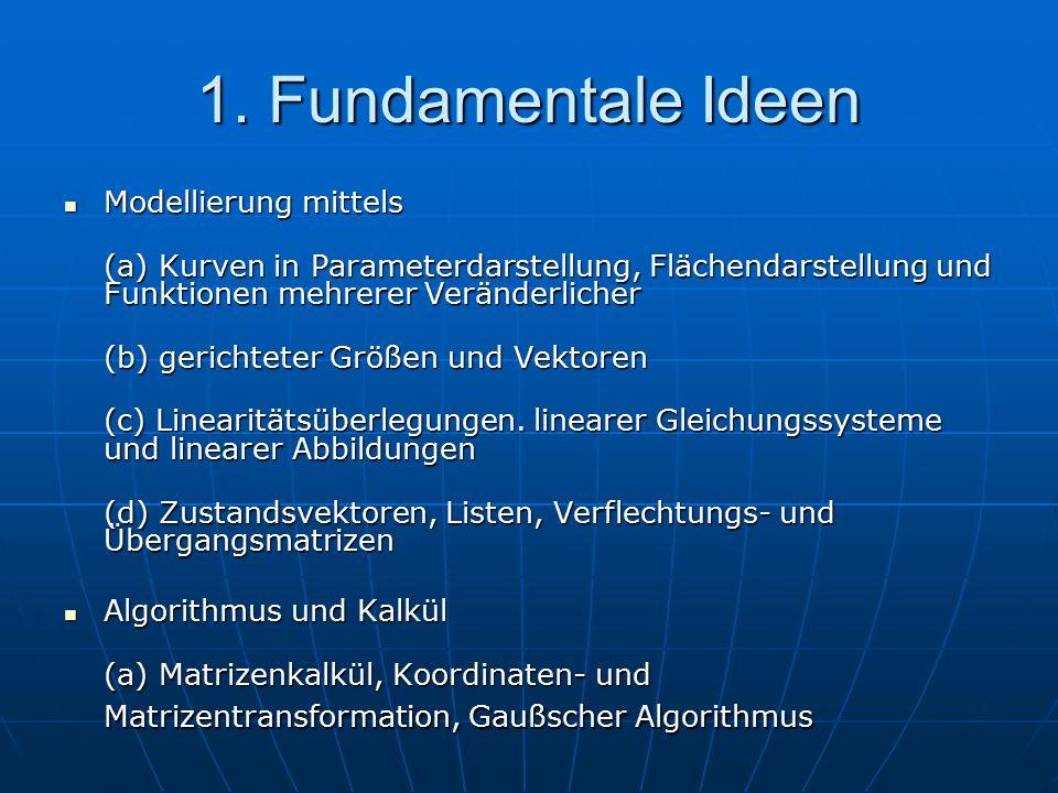 1. Fundamentale Ideen Modellierung mittels Modellierung mittels (a) Kurven in Parameterdarstellung, Flächendarstellung und Funktionen mehrerer Verände
