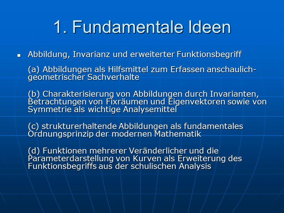 1. Fundamentale Ideen Abbildung, Invarianz und erweiterter Funktionsbegriff (a) Abbildungen als Hilfsmittel zum Erfassen anschaulich- geometrischer Sa