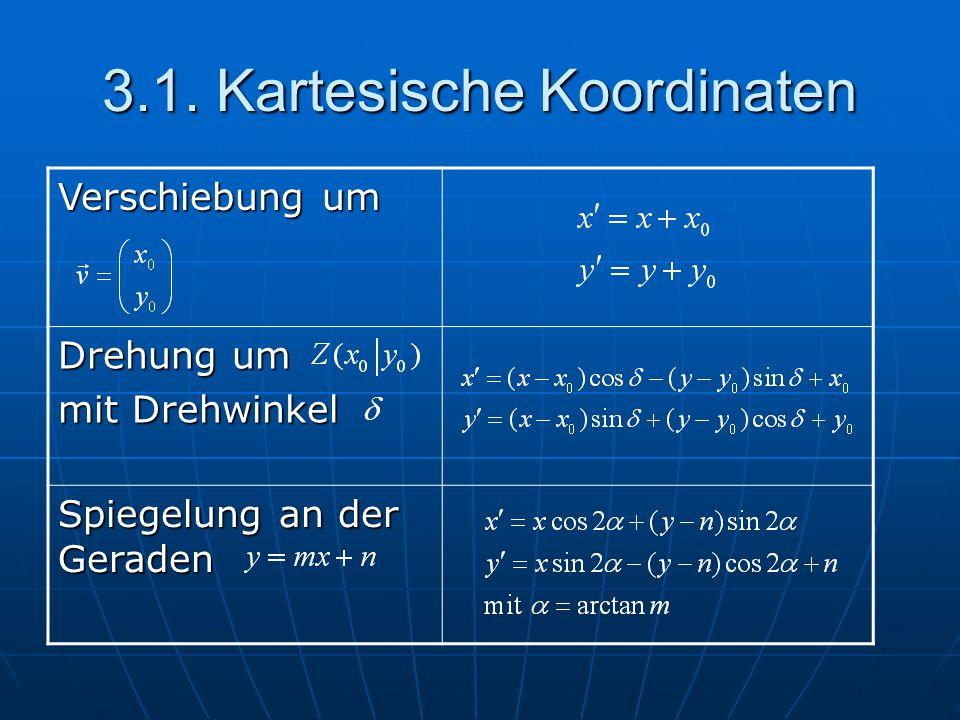 3.1. Kartesische Koordinaten Verschiebung um Drehung um mit Drehwinkel Spiegelung an der Geraden