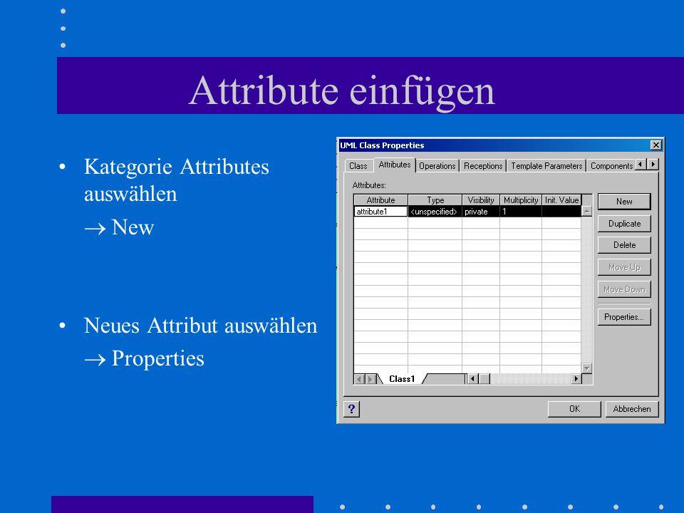 Attribute einfügen Kategorie Attributes auswählen  New Neues Attribut auswählen  Properties