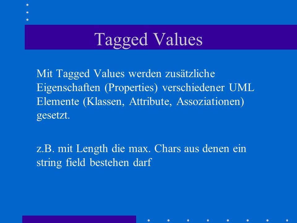 Tagged Values Mit Tagged Values werden zusätzliche Eigenschaften (Properties) verschiedener UML Elemente (Klassen, Attribute, Assoziationen) gesetzt.
