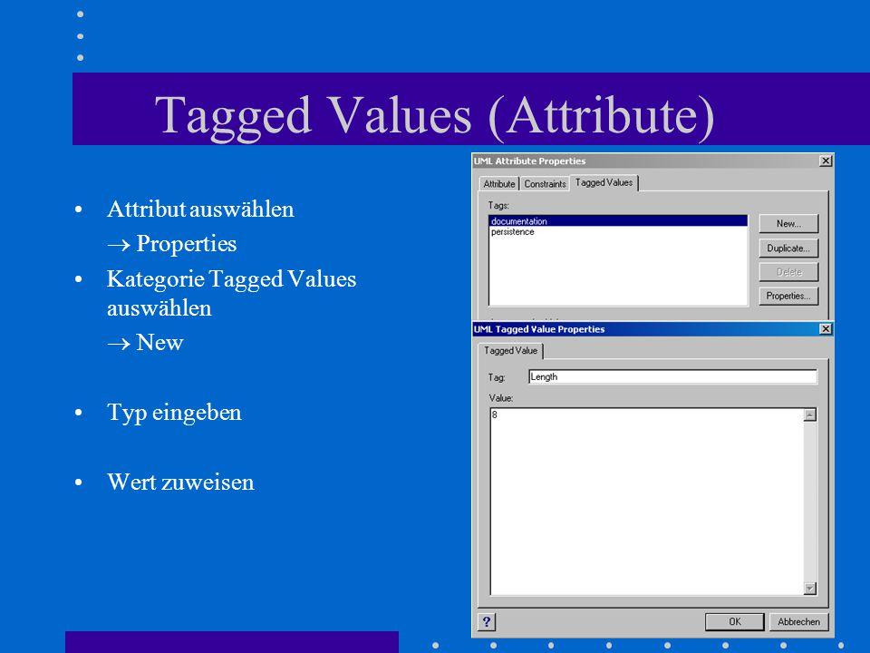 Tagged Values (Attribute) Attribut auswählen  Properties Kategorie Tagged Values auswählen  New Typ eingeben Wert zuweisen