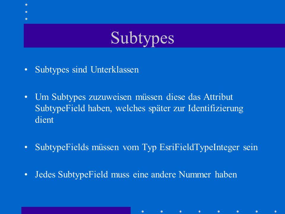 Subtypes Subtypes sind Unterklassen Um Subtypes zuzuweisen müssen diese das Attribut SubtypeField haben, welches später zur Identifizierung dient SubtypeFields müssen vom Typ EsriFieldTypeInteger sein Jedes SubtypeField muss eine andere Nummer haben