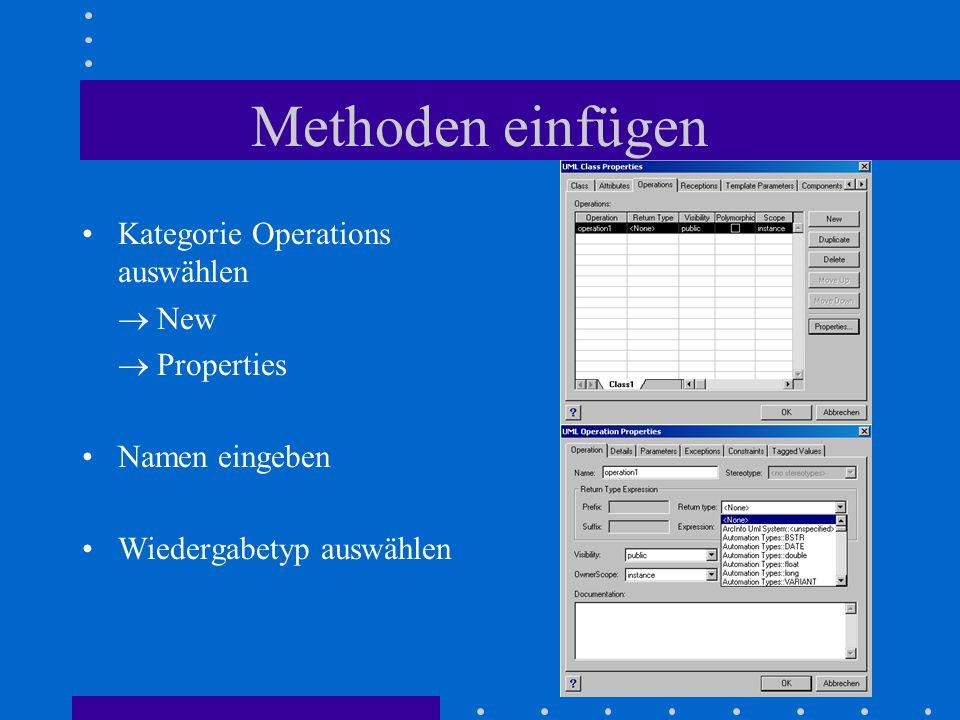 Methoden einfügen Kategorie Operations auswählen  New  Properties Namen eingeben Wiedergabetyp auswählen