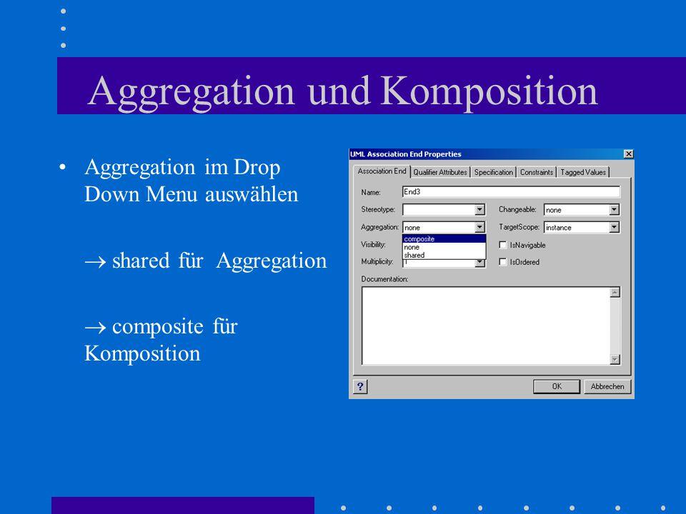 Aggregation und Komposition Aggregation im Drop Down Menu auswählen  shared für Aggregation  composite für Komposition