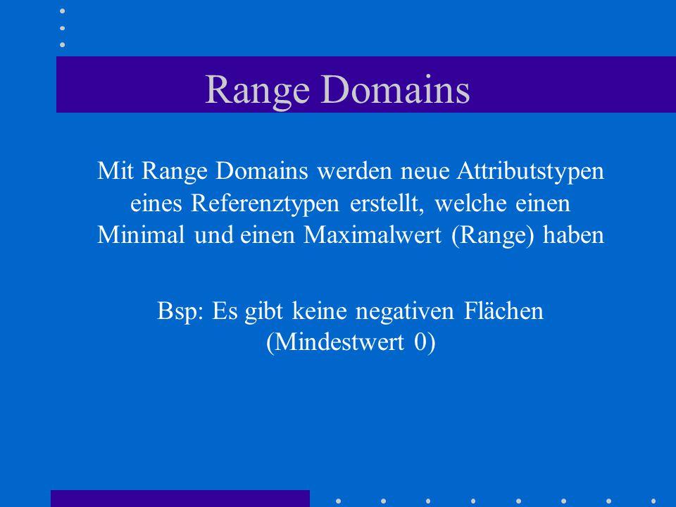 Range Domains Mit Range Domains werden neue Attributstypen eines Referenztypen erstellt, welche einen Minimal und einen Maximalwert (Range) haben Bsp: Es gibt keine negativen Flächen (Mindestwert 0)