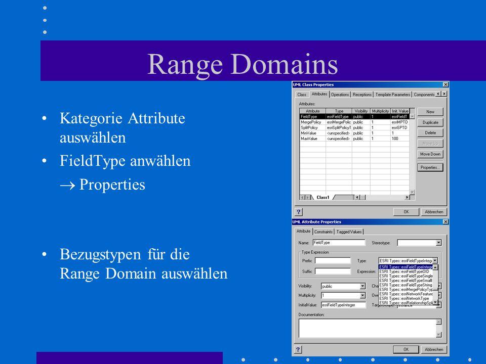 Range Domains Kategorie Attribute auswählen FieldType anwählen  Properties Bezugstypen für die Range Domain auswählen