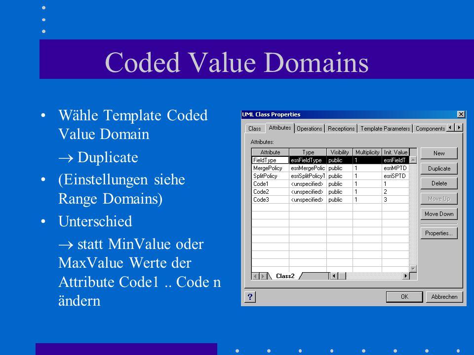Coded Value Domains Wähle Template Coded Value Domain  Duplicate (Einstellungen siehe Range Domains) Unterschied  statt MinValue oder MaxValue Werte der Attribute Code1..