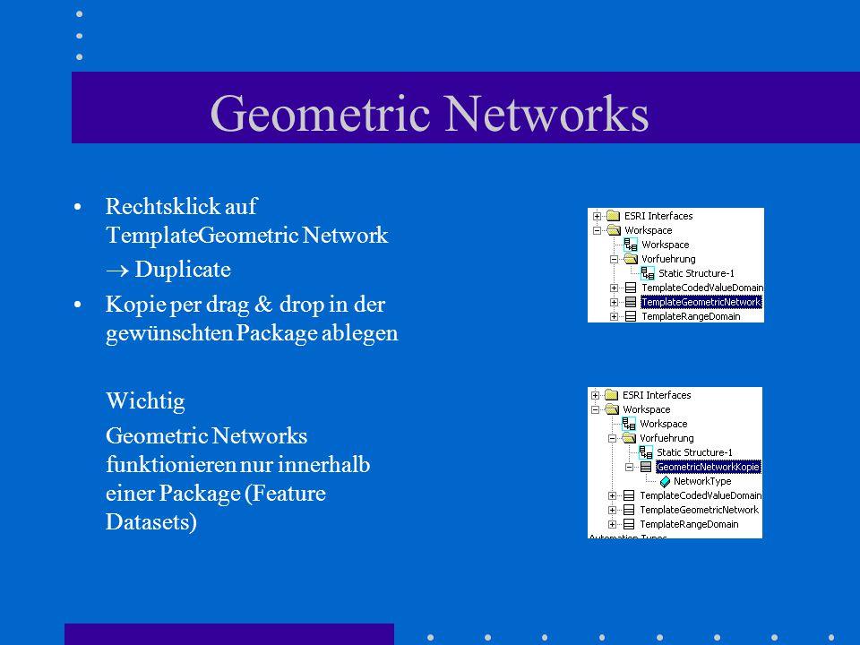 Geometric Networks Rechtsklick auf TemplateGeometric Network  Duplicate Kopie per drag & drop in der gewünschten Package ablegen Wichtig Geometric Networks funktionieren nur innerhalb einer Package (Feature Datasets)