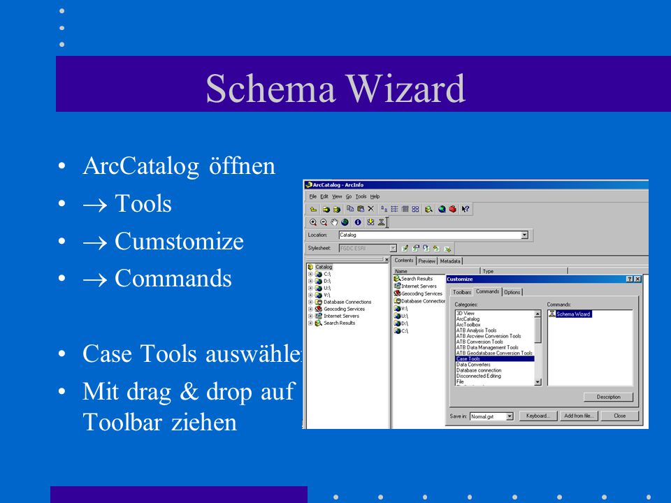 Schema Wizard ArcCatalog öffnen  Tools  Cumstomize  Commands Case Tools auswählen Mit drag & drop auf Toolbar ziehen